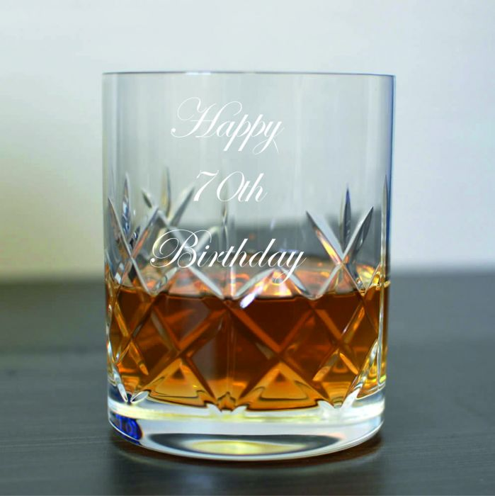 Personalised 24/% Lead Crystal Whisky Glass Wedding Groom In Blue Gift Box