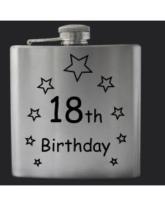 Laser Engraved 6oz Stainless Steel Hip Flask With 18th Birthday Stars Design