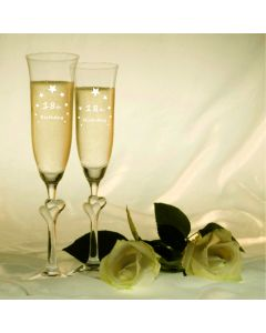 Stolzle Clear Heart Pair of Champagne Flutes With Engraved 18th Birthday Stars Design
