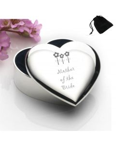 Silver Plated Heart Shaped Trinket Box With Mother of the Bride Flowers Design and Black Gift Pouch