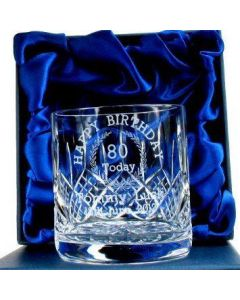 Personalised 80th Birthday Whisky Glass in Luxury Presentation Box