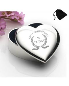 Silver Plated Heart Shaped Trinket Box With Happy 70th Birthday Wreath Design and Black Gift Pouch