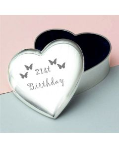 21st Birthday Bufferfly Design Heart Trinket Box