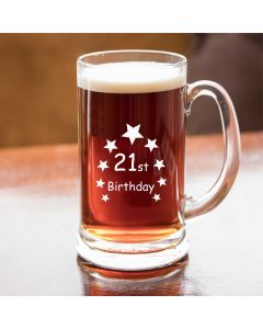 Half Pint Glass Tankard With 21st Birthday Stars Design