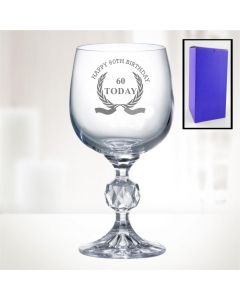 "11oz ""Bohemia Crystal"" Wine Glass With Happy 60th Birthday Wreath Design"