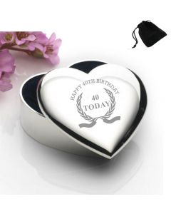 Silver Plated Heart Shaped Trinket Box With Happy 40th Birthday Wreath Design and Black Gift Pouch