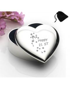 Silver Plated Heart Shaped Trinket Box With Happy 21st Birthday Keys Design and Black Gift Pouch