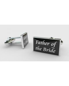 Rectangular Chrome Finish Pair of Cufflinks With Father of the Bride Design