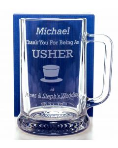 Engraved/Personalised Pub Pint Glass WEDDING HAT Tankard Gift For Usher/Best Man