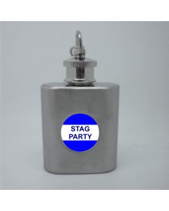 1oz Stainless Steel Hip Flask Key Ring with Stag Party Insert