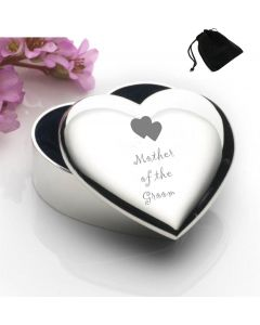 Silver Plated Heart Shaped Trinket Box With Mother of the Groom Hearts Design and Black Gift Pouch