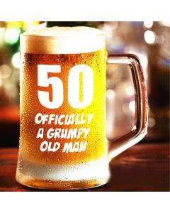 50, Officially a Grumpy Old Man Glass Tankard with Blue Gift Box