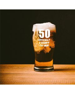 50, Officially a Grumpy Old Man Tulip Beer Glass