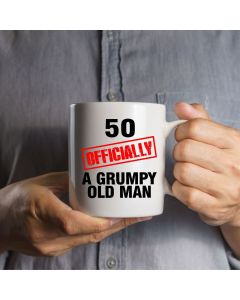 Red 50, Officially a Grumpy Old Man Ceramic Mug, White, 11oz