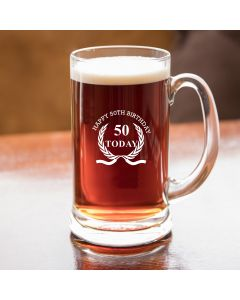 Half Pint Glass Tankard With Happy 50th Birthday Wreath Design