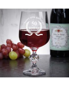 "11oz ""Bohemia Crystal"" Wine Glass With Happy 50th Birthday Wreath Design"