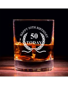 Traditional Whisky Glass With Happy 50th Birthday Wreath Design