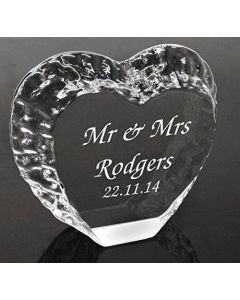 Personalised Optic Glass Heart Decorative Block, Laser Engraved Wedding Gift