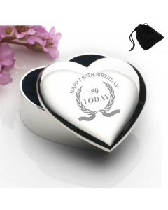 Silver Plated Heart Shaped Trinket Box With Happy 80th Birthday Wreath Design and Black Gift Pouch
