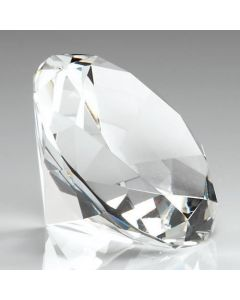 80mm Plain Clear Glass Diamond Shaped Paperweight Complete with Gift Box DIA80