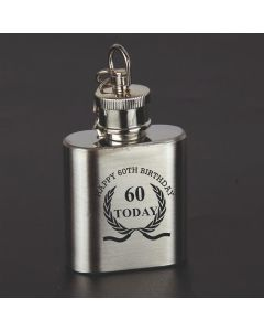 Laser Engraved 1oz Stainless Steel Hip Flask Key Ring With Happy 60th Birthday Wreath Design