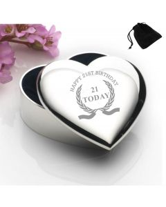 Silver Plated Heart Shaped Trinket Box With Happy 21st Birthday Wreath Design and Black Gift Pouch
