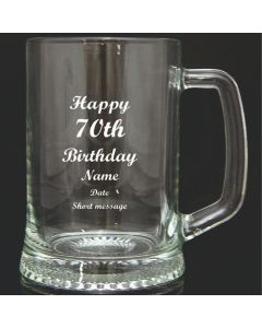 Engraved Quality Glass Tankard Gift, 70th Birthday Design in Blue Gift Box
