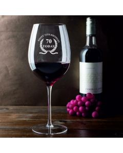 750ml Wine Glass (Holds a Whole Bottle of Wine) With Happy 70th Birthday Wreath Design