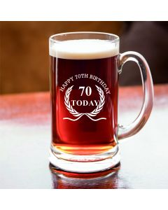 Half Pint Glass Tankard With Happy 70th Birthday Wreath Design