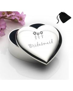 Silver Plated Heart Shaped Trinket Box With Bridesmaid Flowers Design and Black Gift Pouch
