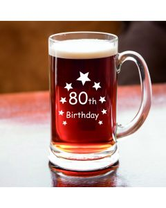 Half Pint Glass Tankard With 80th Birthday Stars Design