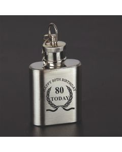 Laser Engraved 1oz Stainless Steel Hip Flask Key Ring With Happy 80th Birthday Wreath Design