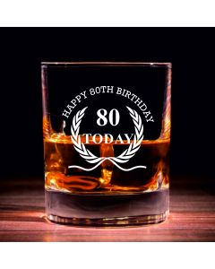 Traditional Whisky Glass With Happy 80th Birthday Wreath Design
