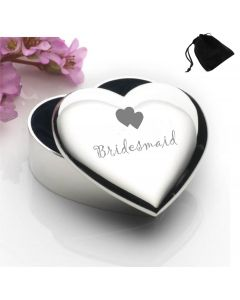 Silver Plated Heart Shaped Trinket Box With Bridesmaid Hearts Design and Black Gift Pouch