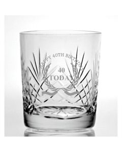 Cut Crystal 9oz Whisky Glass With Happy 40th Birthday Wreath Design