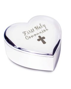 1st First Holy Communion with Cross Silver Finish Heart Shaped Trinket Box