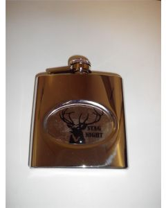 6oz Stailnless Steel Hip Flask with Stag Night Insert