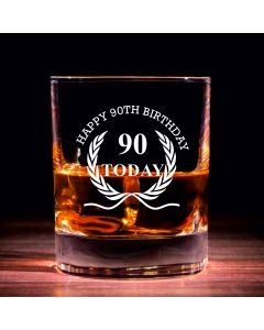 Traditional Whisky Glass With Happy 90th Birthday Wreath Design