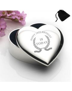 Silver Plated Heart Shaped Trinket Box With Happy 18th Birthday Wreath Design and Black Gift Pouch