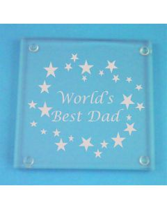 "Father's Day ""World's Best Dad"" Glass Coaster"