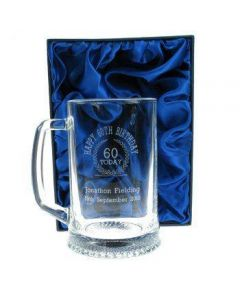 60th Birthday Engraved Glass Tankard, personalised 60th Birthday Present for ...