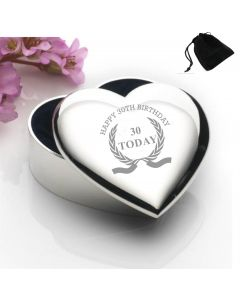 Silver Plated Heart Shaped Trinket Box With Happy 30th Birthday Wreath Design and Black Gift Pouch
