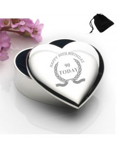 Silver Plated Heart Shaped Trinket Box With Happy 90th Birthday Wreath Design and Black Gift Pouch