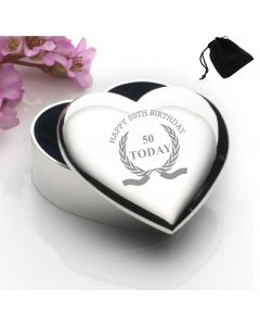 Silver Plated Heart Shaped Trinket Box With Happy 50th Birthday Wreath Design and Black Gift Pouch