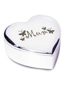 Silver Finish Mum Butterflies Heart Shaped Trinket Box