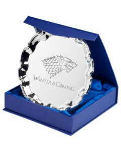 House Stark Game of Thrones Inspired 4 inch Silver Plated Salver with Gift Box