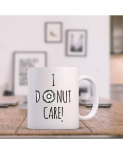 """I Donut Care"" Ceramic Mug, White, 11oz"