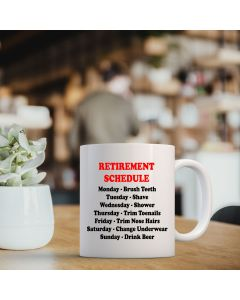 11oz Ceramic Mug With Retirement Schedule Design