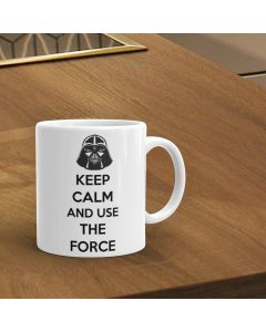 Keep Calm And Use The Force Star Wars Inspired Ceramic Mug, White, 11oz