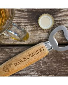 Beer is Coming House Stark Wooden Handle Bottle Opener